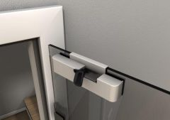 Soft Close for Glass Doors, Retrofit, left version, Satin Anodized
