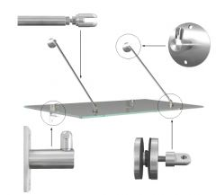CRL Awning Kit for 1300mm Projection Glass Canopy; Brushed Stainless Finish With Round Fixing Plates