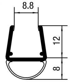 """CRL Translucent Vinyl Bulb Seal for 3/8"""" Glass"""