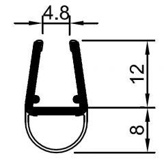 """CRL Translucent Vinyl Bulb Seal for 5/16"""" Glass"""