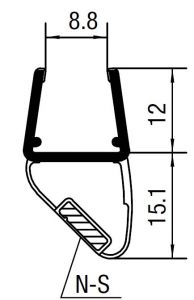 """CRL 45 Degree RH Magnetic Profile for Glass-to-Glass fits 3/8"""" to 1/2"""" Glass"""