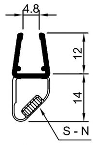 """CRL 45 Degree RH Magnetic Profile for Glass-to-Glass fits 1/4"""" and 5/16"""" Glass"""