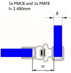 """CRL Magnetic Profile for 6 mm (1/4"""") and 8 mm (5/16"""") Glass"""
