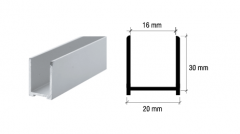 CRL Aluminium Brite Anodized U-Channel 30 x 20 mm, for 10 to 12 mm Glass