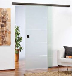 CRL 2.4 Metre Matte Black Wall/Ceiling Mount Single Sliding Door System 80kg Capacity