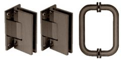 CRL Oil Rubbed Bronze Vienna Frameless Shower Pull and Hinge Set