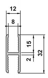 CRL Polished AQUA Adapter Profile for 8 mm Toughened Glass Fixed Panel