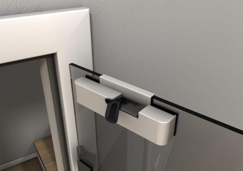 Door Closer for Glass Doors, Retrofit, satin anodised