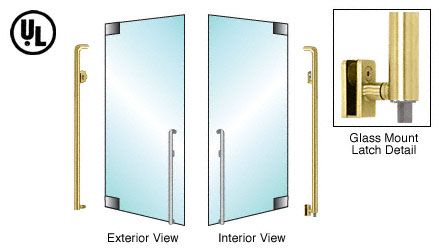 CRL-Blumcraft® Satin Brass Left Hand Reverse Glass Mount Keyed Access 'K' Exterior Bottom Securing Deadbolt Handle