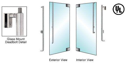 CRL-Blumcraft® Brushed Stainless Right Hand Swing Glass Mount Keyed Cylinder/Keyed Cylinder 'L' Exterior Top Securing Deadbolt Handle