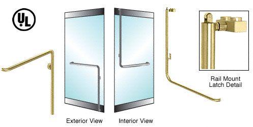 CRL-Blumcraft® Satin Brass Left Hand Reverse Rail Mount Keyed Access 'C' Exterior, Top Securing Panic Handle