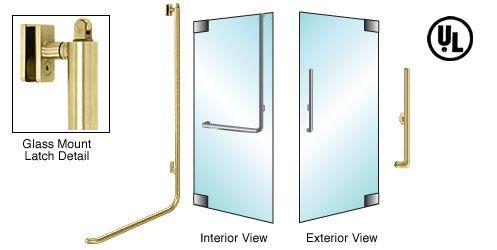 CRL-Blumcraft® Satin Brass Right Hand Reverse Glass Mount Keyed Access 'H' Exterior, Top Securing Panic Handle