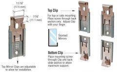"CRL Nickel Plated Adjustable Mirraco® Mirror Clip Set for 3/8"" Seamed Mirror"