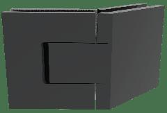 CRL BELLAGIO Adjustable Polished Matte Black 135° Glass-Glass Shower Hinge, Cover Plates