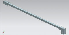 CRL SQUARE SUPPORT BAR SET, 12 X 12 MM, 1200 MM, GLASS-WALL MOUNT, 8 - 10 MM