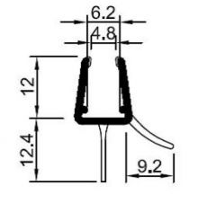 CRL REHAU Bottom Wipe for Curved Glass, 6 - 8 mm, 1185 mm, Radius 550