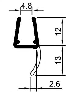 """CRL 'Y' Jamb Seal with Soft Leg  for 6mm (1/4"""") and 8mm (5/16"""") Glass"""