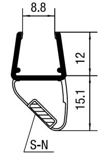 """CRL 45 Degree LH Magnetic Profile for Glass-to-Glass Fits 3/8"""" to 1/2"""" Glass"""