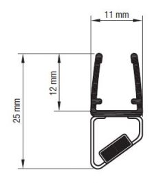 CRL Black 45° Right Hand Magnetic Profile, 6 - 8 mm, 2500 mm
