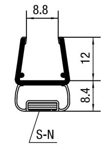 """CRL 90 Degree Magnetic Profile for Glass-to-Glass fits 3/8"""" to 1/2"""" Glass"""