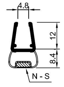"""CRL 180 Degree Magnetic Profile for Glass-to-Glass fits 1/4"""" and 5/16"""" Glass"""
