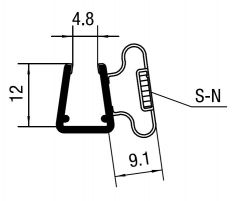 CRL Magnetic Profile for 6 mm and 8 mm Glass, 2010 mm
