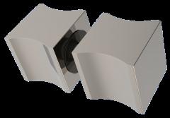 CRL PREMIUM WAVE Polished Chrome Back-to-Back Square Finger Pull Knob