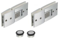 dormakaba TENSOR Set, 180° Glass Mounting, 1 pair of hinges, 2 pc door stoppers, Niro Satin