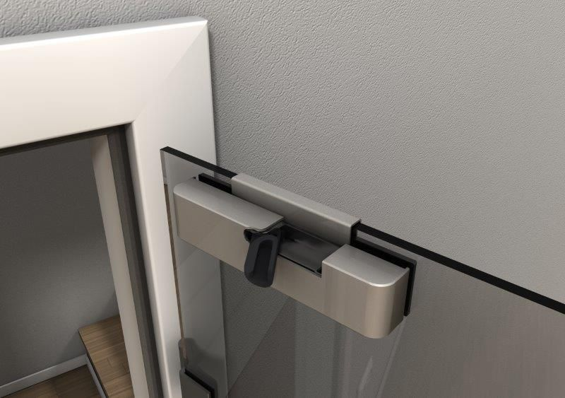 Door Closer for Glass Doors, Retrofit, Brushed Nickel