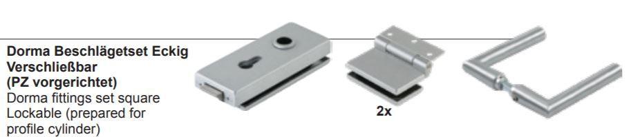 dormakaba square hinge set, lockable