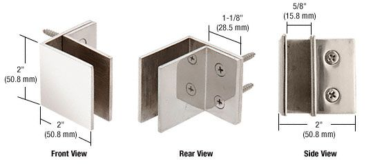 CRL Wall Mount Square Mall Front Clamps