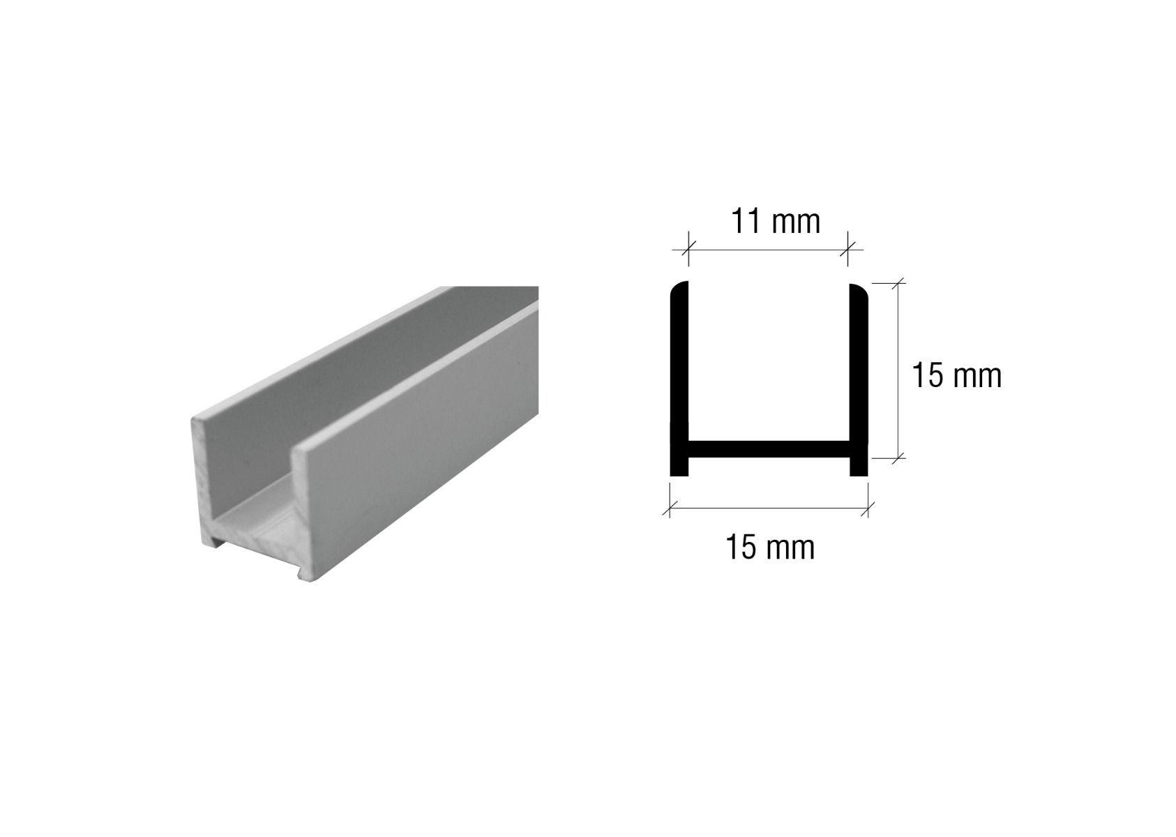 CRL Aluminium U-Profil für 8 - 10 mm und 10 - 12 mm, 2,5 m
